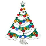 EVER FAITH Silver-Tone Austrian Crystal Star White Snow Wishing Tree Brooch Multicolor