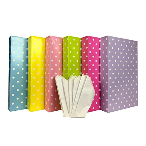 Set of Large Gift Boxes + Tissue Paper (6 Large Boxes + Tissue, Polka Dot) - Cheap Shirt Boxes