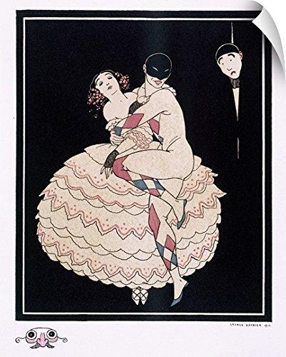 Commedia Dellarte Lovers Costumes (George Barbier Wall Peel Wall Art Print entitled Karsavina, 1914)