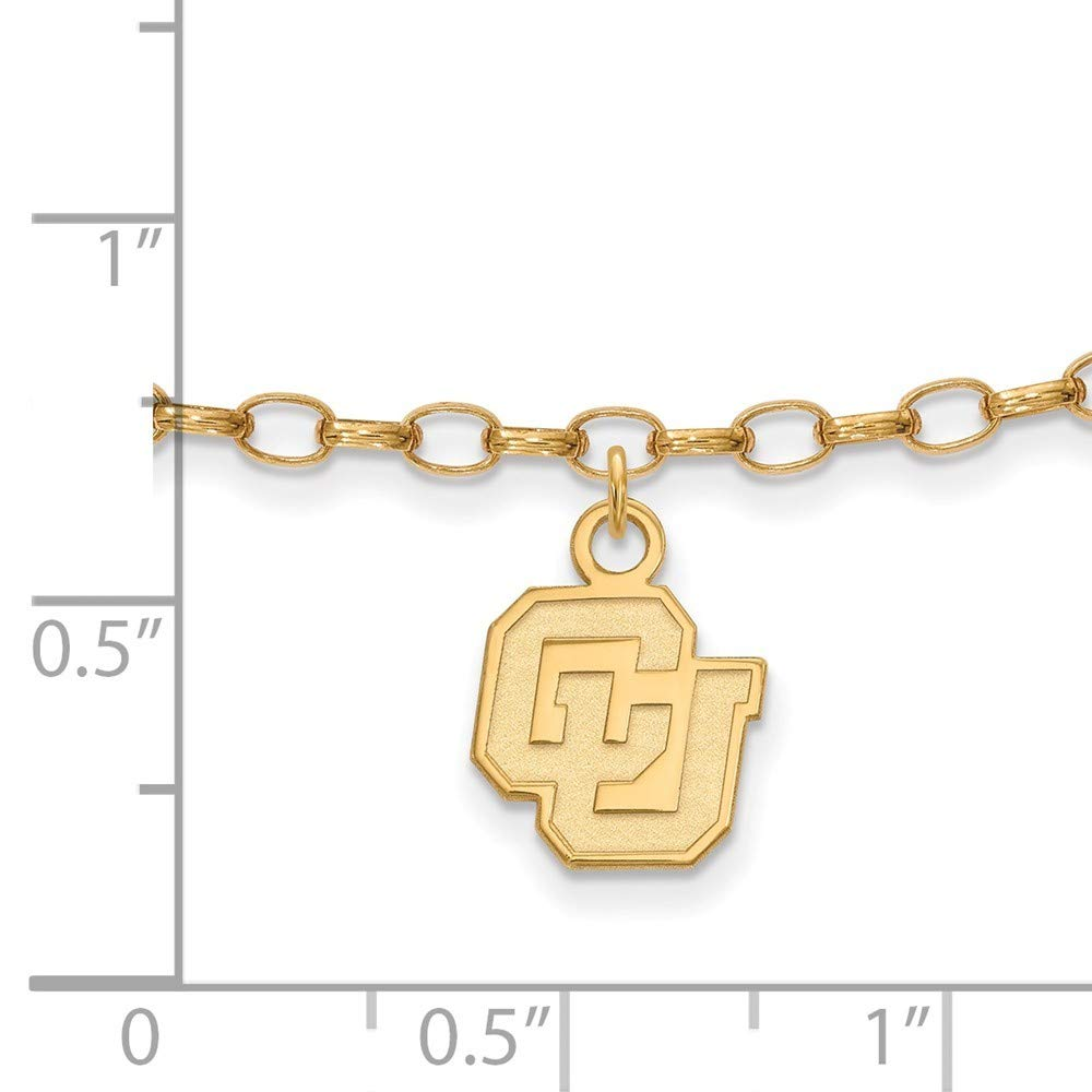 Roy Rose Jewelry Sterling Silver with 14K Yellow Gold-plated LogoArt University of Colorado Anklet