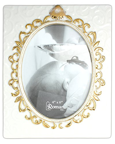 Roman 7'' x 6'' Baby Baptismal Picture Frame Holds 4'' x 6'' Photo by Roman