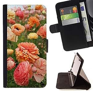 Momo Phone Case / Flip Funda de Cuero Case Cover - Flores Rosa Naranja Amarillo - Sony Xperia Z3 D6603