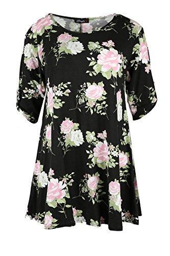 Damen Floral Print Tasten Turn Up Short Sleeve Stretch-weites Swing, Übergröße - Black Pink Rose