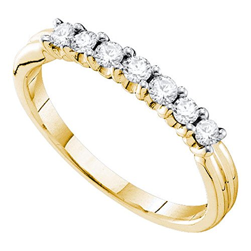 Solid 14k Yellow Gold Seven Stone Diamond Wedding Band Stackable Ring Bridal Style Polished Fancy 1/3 ctw ()