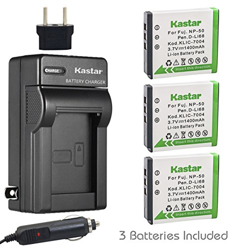 (Kastar Battery (3-Pack) and Charger Kit for Fujifilm NP-50, Kodak KLIC-7004, Pentax D-Li68 and Fujifilm FinePix Cameras, Kodak EasyShare Cameras and Pentax Cameras (Detail Models in the Description))