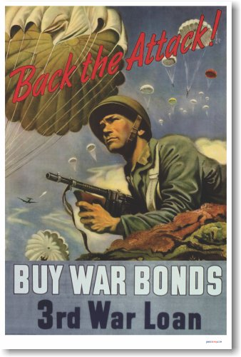 (Back the Attack - Buy War Bonds - Vintage WW2 Reproduction Poster)