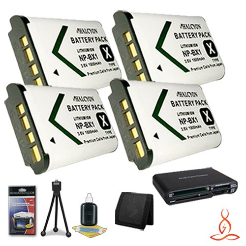 Four Halcyon 1800 mAH Lithium Ion Replacement NP-BX1 Battery + Memory Card Wallet + Multi Card USB Reader + Deluxe Starter Kit for Sony HDR-CX240 Full HD Handycam Camcorder and Sony NP-BX1 by Halcyon