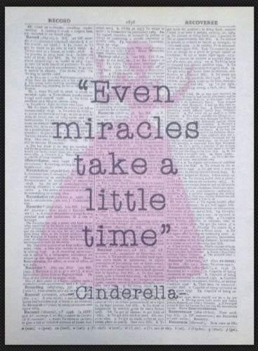 Cenerentola citazione dizionario vintage Wall Art Print Picture Miracles principessa homemade