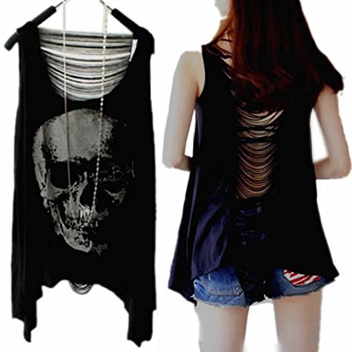 Kocome Vintage Women Skull Punk Sexy Tassel Open Back Lady Singlet Tank Top Long TShirt (Teen Nerds Tank Dress)