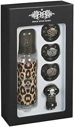 Rock Star Baby - Caja y Botella chupetes leopardo de la estrella del rock del bebé - Co-RSB-Léo: Amazon.es: Bebé