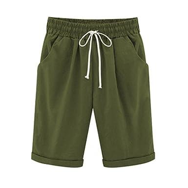 7b01d6dea92c2c Bermuda Shorts Damen Knielang Sommerhose Kurze mit Gummizug Frauen Große  Größen Loose Stoffhose Stretch