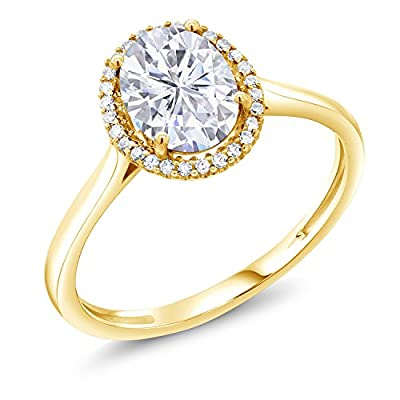 10K Yellow Gold Fashion Right-Hand Ring Forever Classic Oval 1.50ct (DEW) Created Moissanite by Charles & Colvard