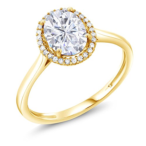 10K Yellow Gold Fashion Right-Hand Ring Forever Classic Oval 1.50ct (DEW) Created Moissanite by Charles & (Yellow Gold Created Moissanite Ring)