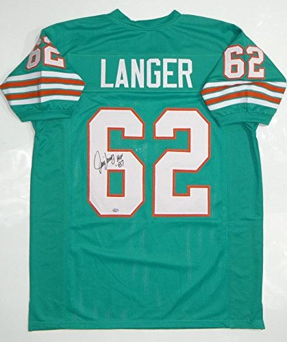 - Autographed Jim Langer Signed Teal Pro Style Jersey (Size XL) Hall of Fame87 - Sgc Certified