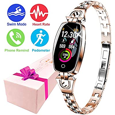 Women's Smart Watch Jewelry Fitness Tracker Watch, Waterproof HR Activity Tracker Female Wristband with 8 Sport Mode HR Health Sleep Monitor Calorie Kids Pedometer Birthday Gift for Mother Lady