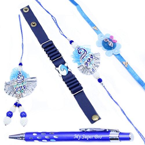 Set for Full Family   Mayur Rakhi Gift Set   Rakhi for Brother, Premium Pen Gift Set (with Free Roli & Rice) ()
