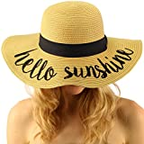 Hello Sunshine Wide Brim 4'' Summer Derby Beach Pool Floppy Dress Sun Hat