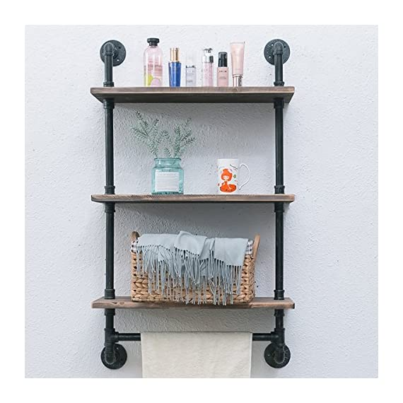 "Industrial Pipe Shelf,Rustic Wall Shelf with Towel Bar,24"" Towel Racks for Bathroom,3 Tiered Pipe Shelves Wood Shelf Shelving - 【Retro Style】:Iron pipes and reclaimed real wood composition in vintage style.Storage and decorations.It can also be used outdoors. 【Size】:Length24"" x Height41.73"" x Deep9.84"".Wood: Length24"" x Depth 9.84"" x Thickness 0.78''. 【Multi-functional】:The floating shelves are versatile, such as bathroom accessories, towel holder, bookcase, spice racks. - wall-shelves, living-room-furniture, living-room - 51BjK46oOjL. SS570  -"