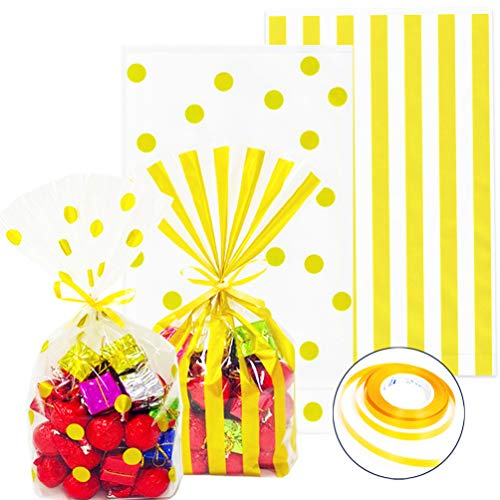 ADIDO EVA 200 Packs Cellophane Bags Gold with Ties Polka Dot and Striped Candy Cookie Bags Clear Plastic Treat Bags for Birthday Party Baby Show Favor Bags (10 x 6 x 2.3 inch)
