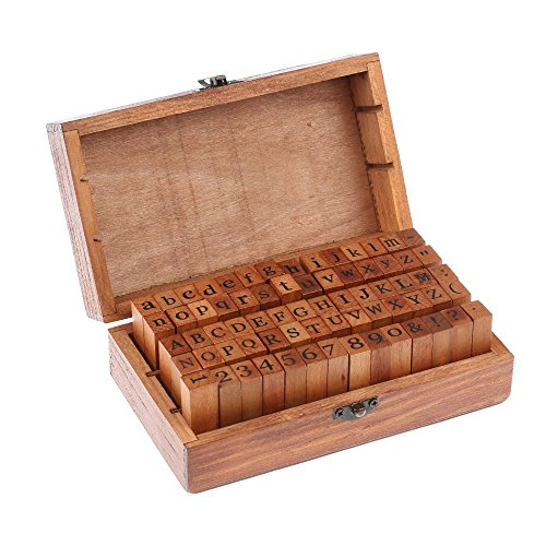 70 pcs Vintage DIY Number and Alphabet Letter Wood Rubber Stamps Set with Wooden Box