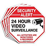 """(4 Pack) Security Alert, 24 Hour Video Surveillance, All Activities Monitored Signs,10"""" x 10"""" .040 Aluminum Reflective Warning Sign for Home Business CCTV Security Camera, Indoor or Outdoor Use"""