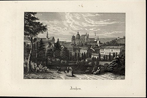 Aachen Germany Churches Steeples Domed Buildings 1872 nice antique view print