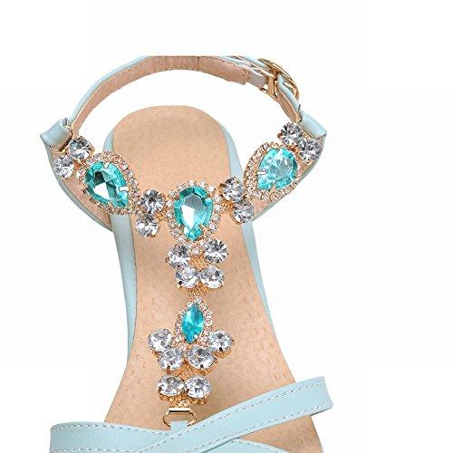 Carolbar Mote Kvinners Skinnende Rhinestone Bling Bling T-stropp Eleganse Spenne Tykk Mid Hæl Sandaler Blå