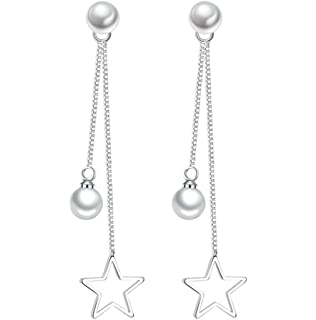 Dreamy Women 925 Sterling Silver Zirconia Needle Drop Threader Pull Through Earrings Hoop Pearl Stud Earrings