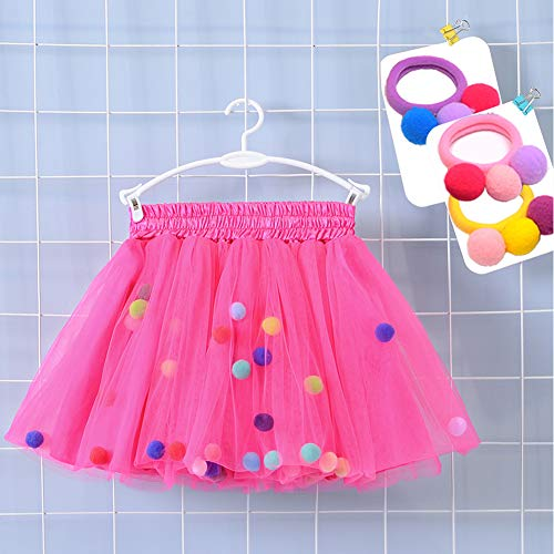 Bingoshine 4 Layers Soft Tulle Puff Ball Girls Tutu Skirts with Silky Lining Colorful Princess Costumes for Dressing Up. (Rose, M,1-3 Years) ()