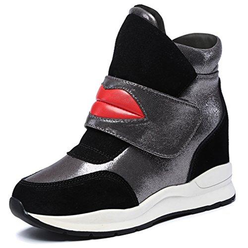 Solshine Damen mit Lippe Mustern Keilabsatz Klettverschluss Stiefeletten Sneaker Wedges Winterstiefel Schwarz(ohne Fell)