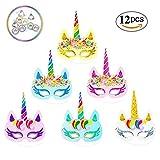 Toys : Rainbow Unicorn Paper Masks Kids Birthday Unicorn Party Favors 12 PCS