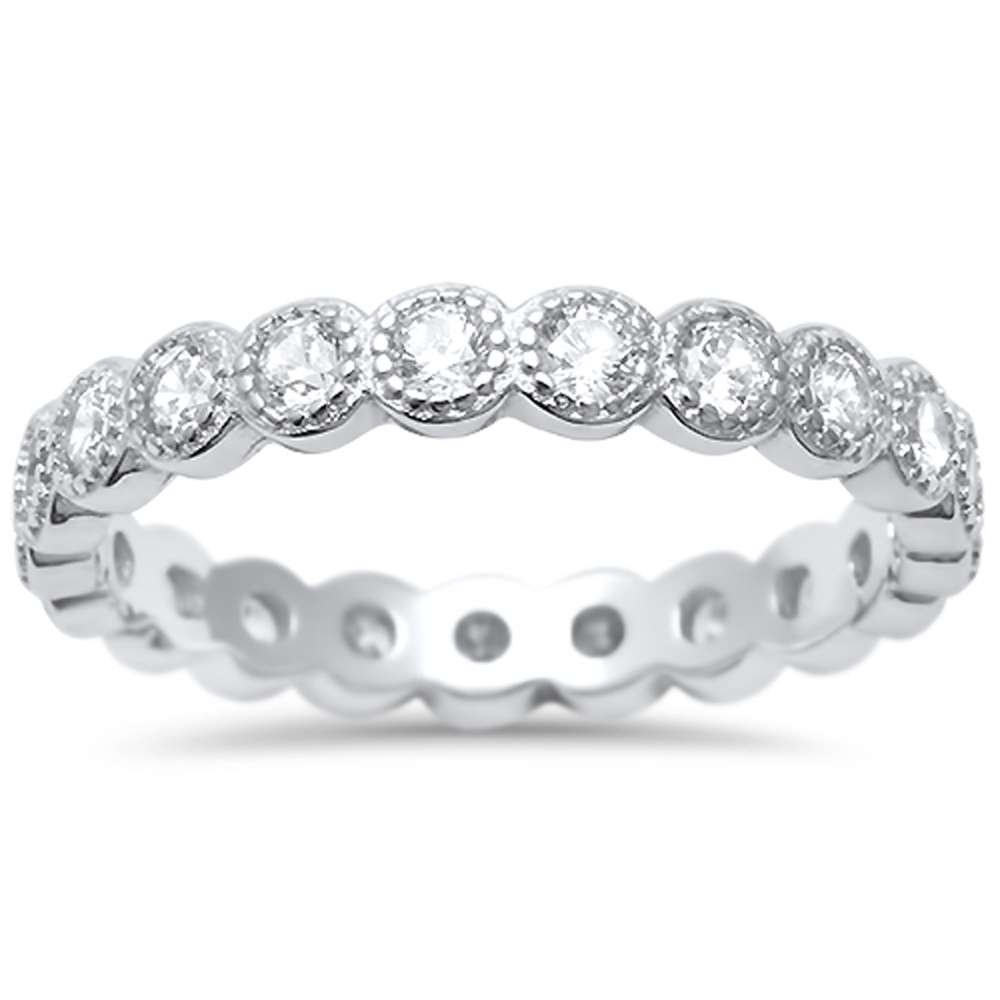 Oxford Diamond Co Sterling Silver Antique Style Bezel Set Eternity Stackable Ring Sizes 8