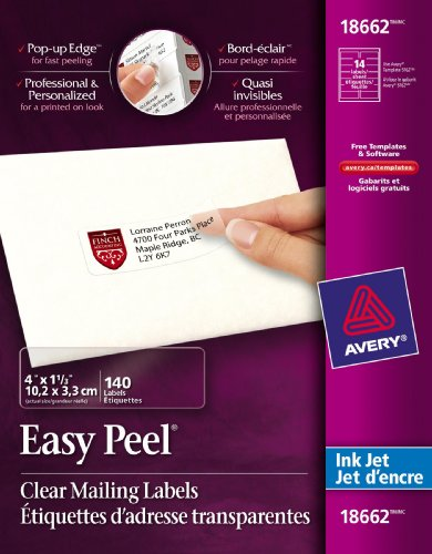 AVERY-DENNISON 18662 Easy Peel Mailing Labels for Inkjet Printers, 1-1/3 x 4, Clear, 140/Pack Avery Dennison Peel