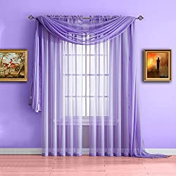 Warm Home Designs Standard Length Lilac Purple Sheer Window Scarf. Valance Scarves are 56 X 144 Inches in Size. Great As Window Treatments, Bed Canopy Or for Decorative Project. Color: Lilac 144