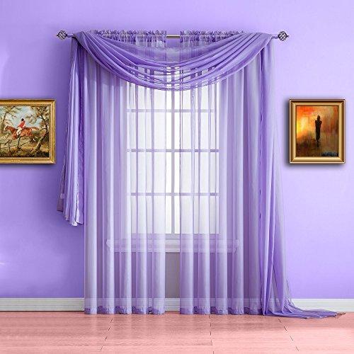 Cheap  Warm Home Designs Standard Length Lilac Purple Sheer Window Scarf. Valance Scarves..