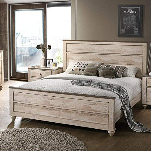Roundhill Furniture B132KDMN2 Amerland Contemporary White Wash Finish 5-Piece Bedroom Set,