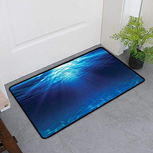TableCovers&Home Inlet Outdoor Door Mat, Ocean Decorative Rugs for Kitchen, Underwater View with Sandy Seabed Aquatic Scenes Sunbeams Nature Picture Print (Navy Blue Aqua, H16 x W24)