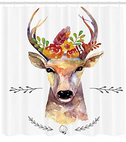 (Ambesonne Indie Shower Curtain, Deer Portrait in Watercolor Painting Style Boho Flower Bouquet Hipster Rustic Artwork, Fabric Bathroom Decor Set with Hooks, 75 inches Long, Multicolor)
