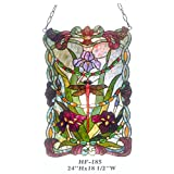 HF-183 Tiffany Style Stained Glass Dragonfly With Flowers Decorative Window Hanging Glass Panel Suncatcher, 24''x18.5''