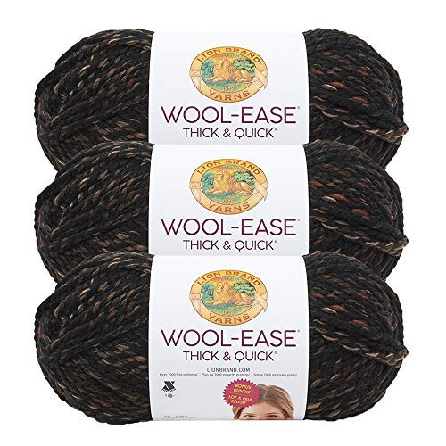 (3 Pack) Lion Brand Yarn 641-539B Wool-Ease Thick & Quick Bonus Bundle Yarn, Toasted Almond ()