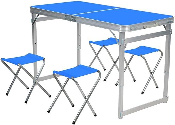 GLF Mesa de Picnic portátil para Acampar, Mesa de Picnic para Barbacoa al Aire Libre y sillas con 4 taburetes Plegables, 60 * 60 * 10 cm (Color: Azul): Amazon.es: Hogar