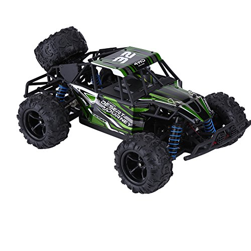 2.4GHz 1:18リモートコントロール四輪駆動車 トラック 時速40cm・h以上 防震 衝突止め TPRタイヤ 380高速モーター RCモデル車 おもちゃ 高級PVC製 グリーン色