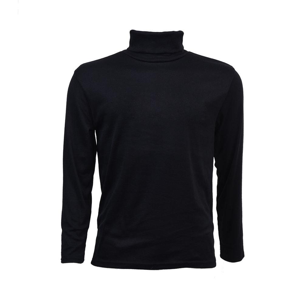 SODIAL (R) Moda Autunno Inverno maglione dolcevita shirt fantasia tinta unica Pullover da uomini nero L SODIAL(R)