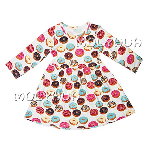 MOLYHUA Donut Dress, Toddler Baby Girls Summer Dress Donut Print Skirt Long Sleeve Party Clothes(80(18M), White) ()
