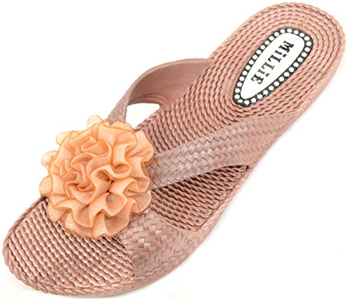 Ladies / Mujeres Summer / Holiday / Beach Millie Sandalias De Flores / Zapatos / Chancletas De Oro