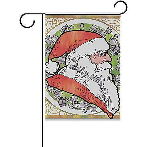Octtimee Side View Santa Claus Graphic Pattern Polyester Garden Flag Outdoor Flag Home Party Garden Decor, Double Sided, 12