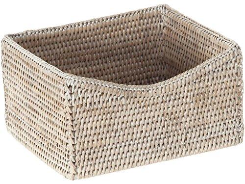 (La Jolla Rattan Organizing & Shelf Basket, White Wash)