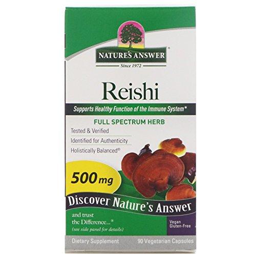 Natures Herbs Reishi Mushroom (Nature's Answer Reishi Mushroom Mycelia Vegetarian Capsules, 90-Count)