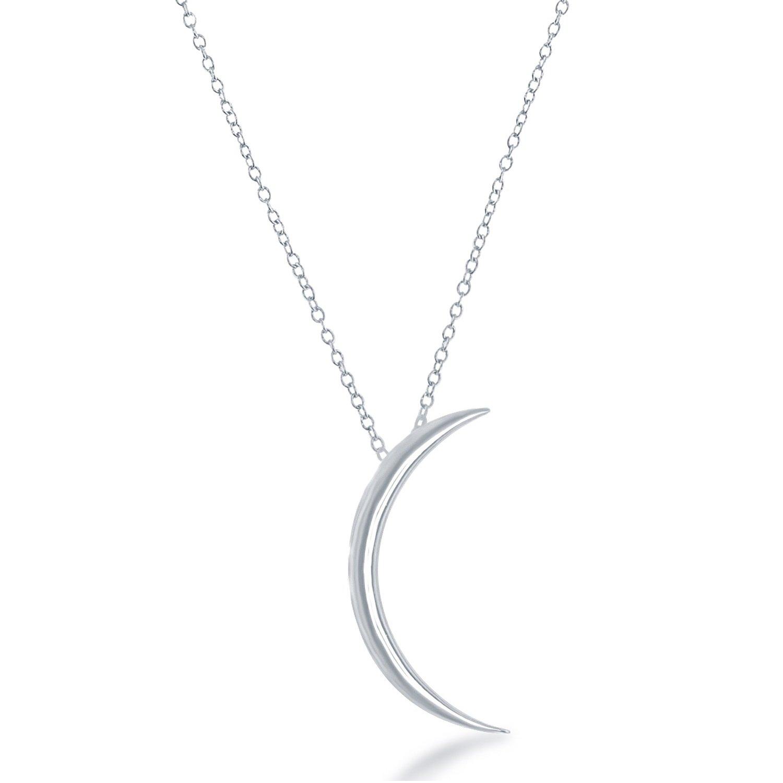 Beaux Bijoux 925 Sterling Silver Italian 16'' + 2'' Crescent Moon Necklace