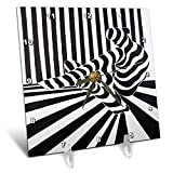 3dRose Art by Mandy Joy - Stripes - A Black and White Striped Painting of a Dancer Stretching. - 6x6 Desk Clock (dc_291511_1)